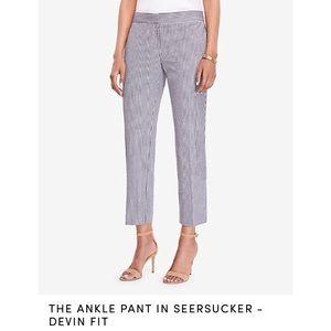Ann Taylor Seersucker Devin Fit Ankle Pants Sz 14